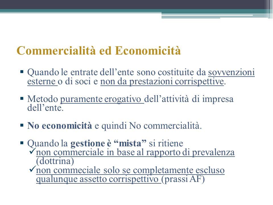 Commercialità ed Economicità Quando le entrate dellente sono costituite da sovvenzioni esterne o di soci e non da prestazioni corrispettive. Metodo pu