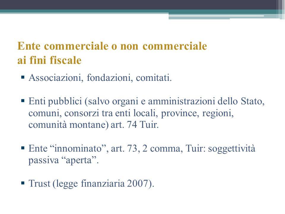 Ente commerciale o non commerciale ai fini fiscale Associazioni, fondazioni, comitati. Enti pubblici (salvo organi e amministrazioni dello Stato, comu