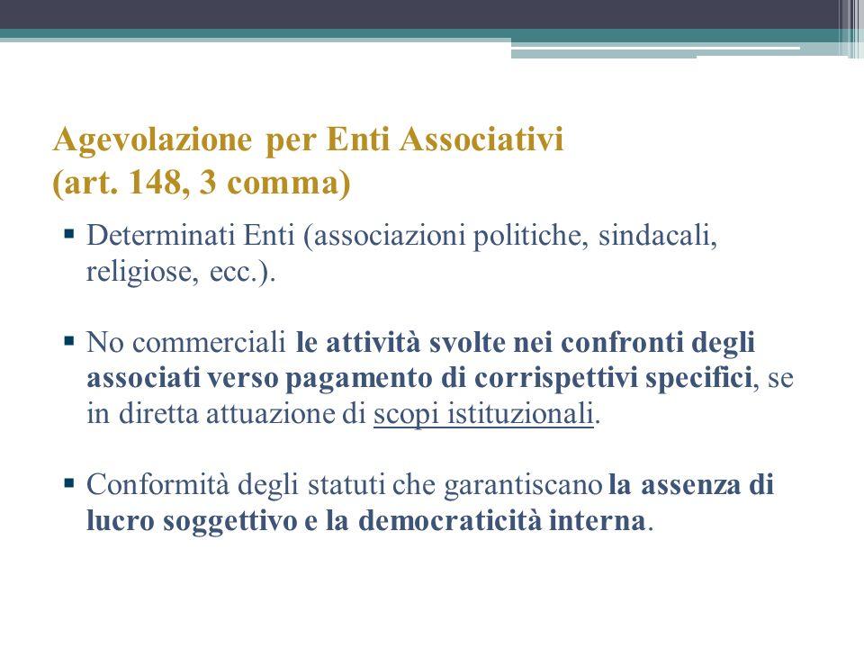 Agevolazione per Enti Associativi (art. 148, 3 comma) Determinati Enti (associazioni politiche, sindacali, religiose, ecc.). No commerciali le attivit