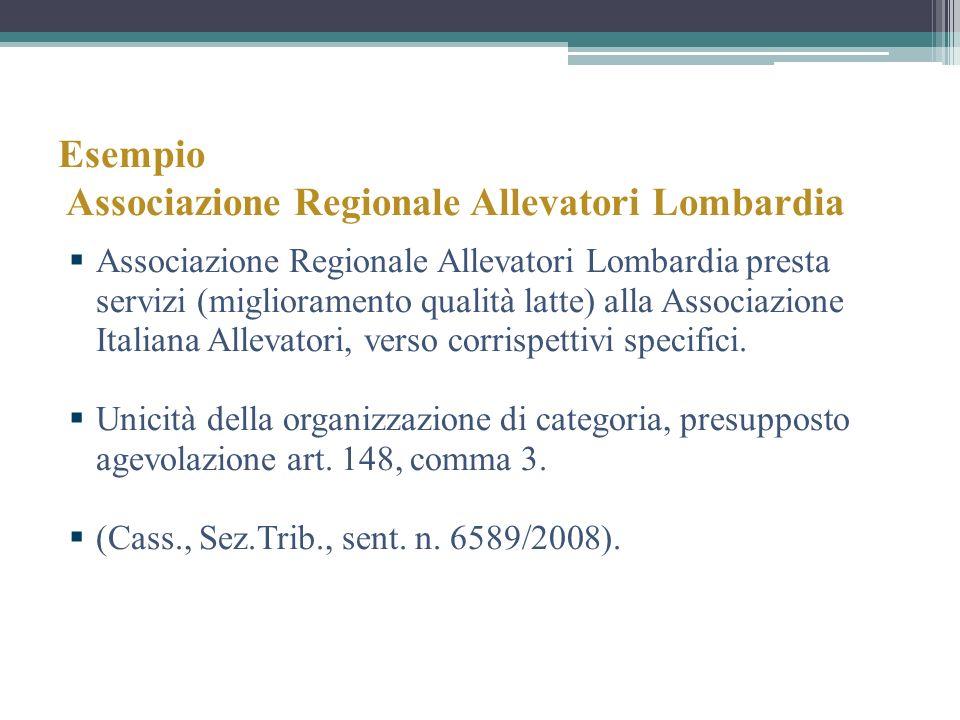 Esempio Associazione Regionale Allevatori Lombardia Associazione Regionale Allevatori Lombardia presta servizi (miglioramento qualità latte) alla Asso