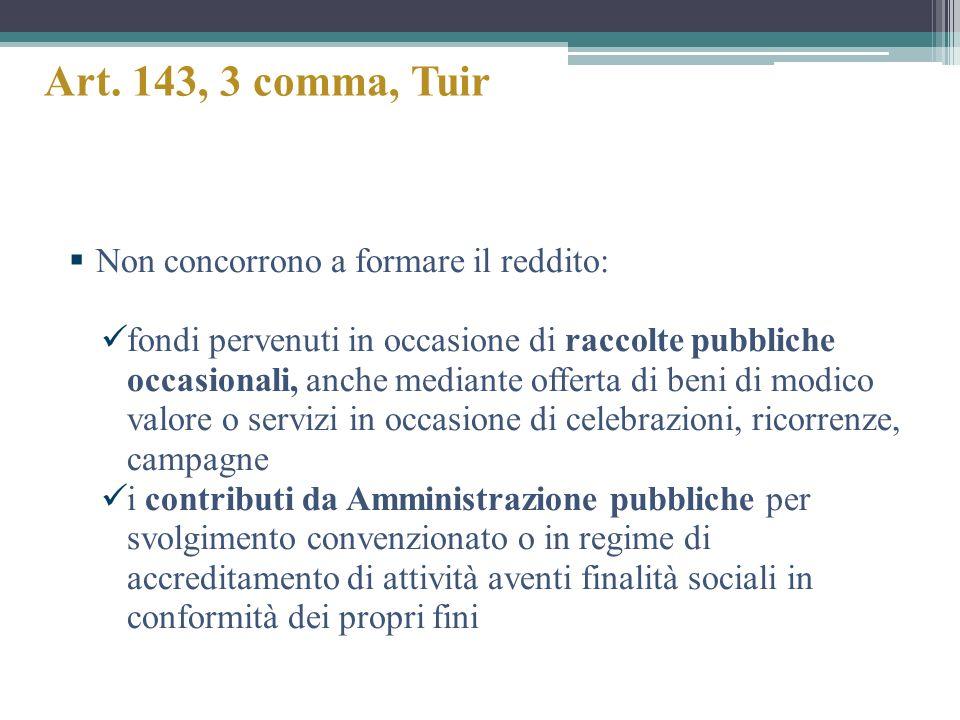 Art. 143, 3 comma, Tuir Non concorrono a formare il reddito: fondi pervenuti in occasione di raccolte pubbliche occasionali, anche mediante offerta di