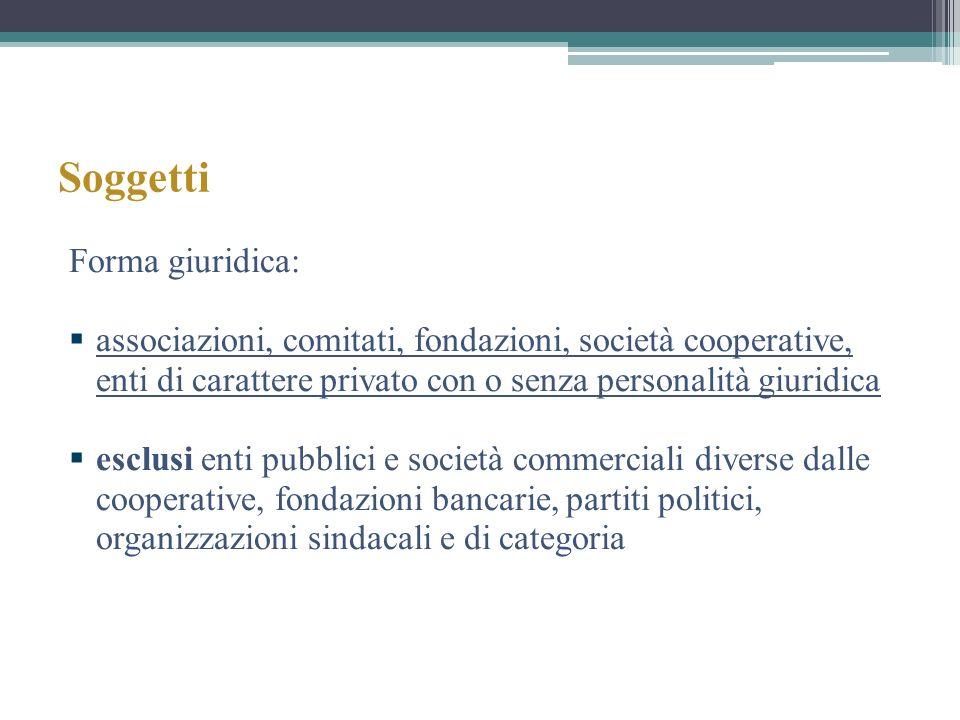 Soggetti Forma giuridica: associazioni, comitati, fondazioni, società cooperative, enti di carattere privato con o senza personalità giuridica esclusi