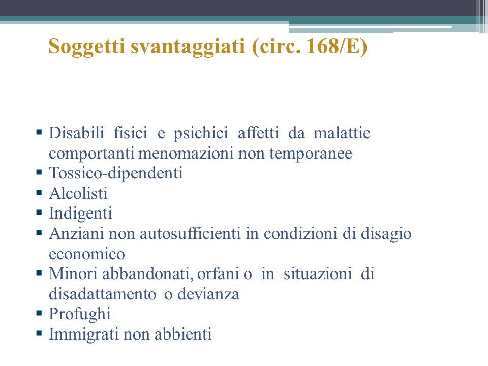 Soggetti svantaggiati (circ. 168/E) Disabili fisici e psichici affetti da malattie comportanti menomazioni non temporanee Tossico-dipendenti Alcolisti