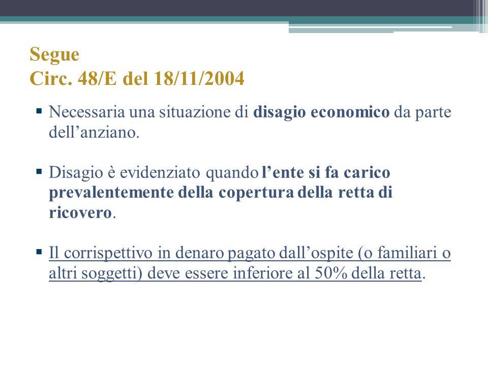 Segue Circ. 48/E del 18/11/2004 Necessaria una situazione di disagio economico da parte dellanziano. Disagio è evidenziato quando lente si fa carico p