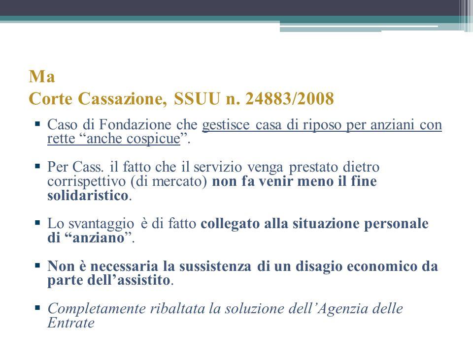 Ma Corte Cassazione, SSUU n. 24883/2008 Caso di Fondazione che gestisce casa di riposo per anziani con rette anche cospicue. Per Cass. il fatto che il