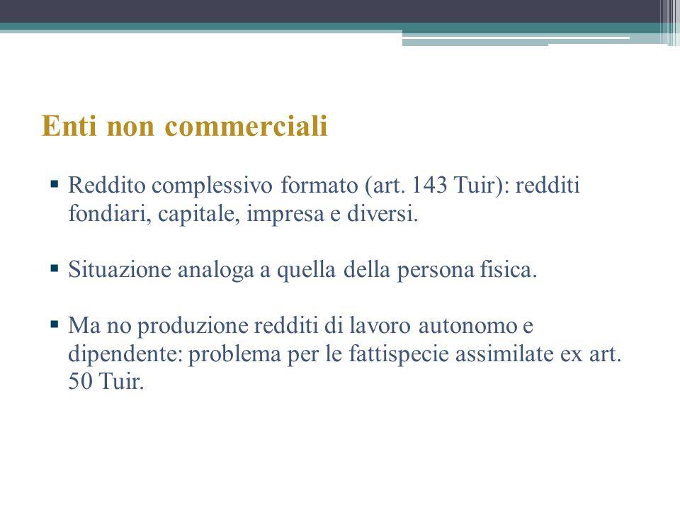 Enti non commerciali Reddito complessivo formato (art. 143 Tuir): redditi fondiari, capitale, impresa e diversi. Situazione analoga a quella della per