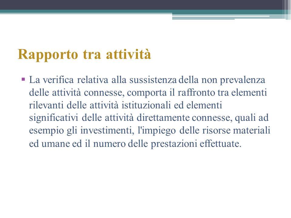 Rapporto tra attività La verifica relativa alla sussistenza della non prevalenza delle attività connesse, comporta il raffronto tra elementi rilevanti