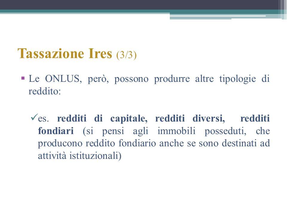 Tassazione Ires (3/3) Le ONLUS, però, possono produrre altre tipologie di reddito: es. redditi di capitale, redditi diversi, redditi fondiari (si pens