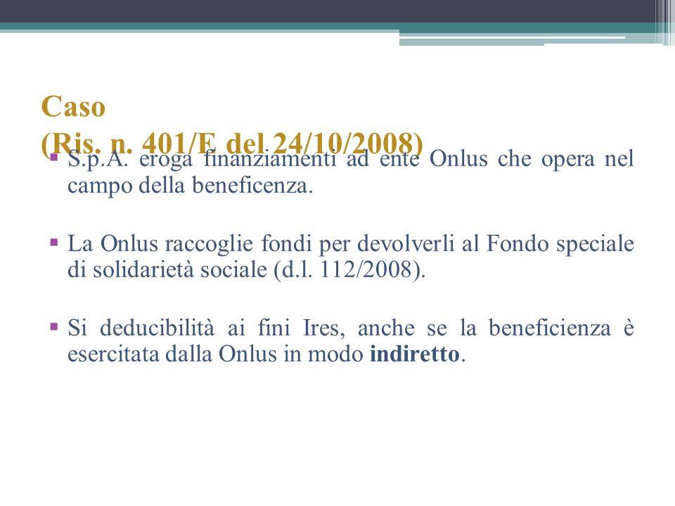 Caso (Ris. n. 401/E del 24/10/2008) S.p.A. eroga finanziamenti ad ente Onlus che opera nel campo della beneficenza. La Onlus raccoglie fondi per devol