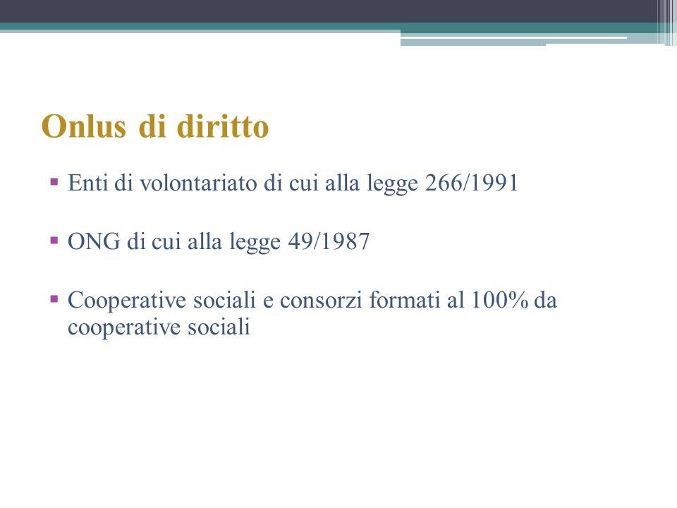 Onlus di diritto Enti di volontariato di cui alla legge 266/1991 ONG di cui alla legge 49/1987 Cooperative sociali e consorzi formati al 100% da coope