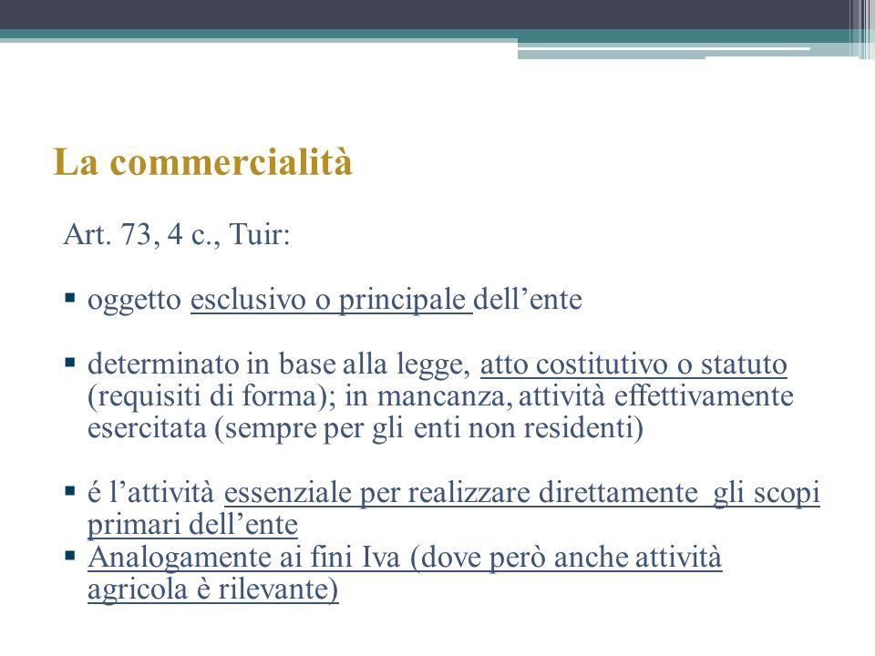 La commercialità Art. 73, 4 c., Tuir: oggetto esclusivo o principale dellente determinato in base alla legge, atto costitutivo o statuto (requisiti di