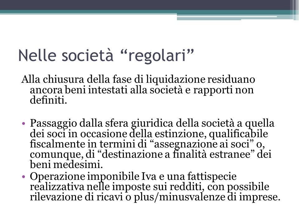 Nelle società regolari Alla chiusura della fase di liquidazione residuano ancora beni intestati alla società e rapporti non definiti.