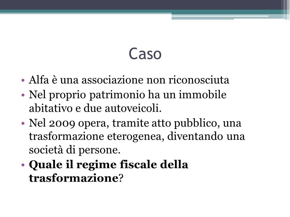 Caso Alfa è una associazione non riconosciuta Nel proprio patrimonio ha un immobile abitativo e due autoveicoli.