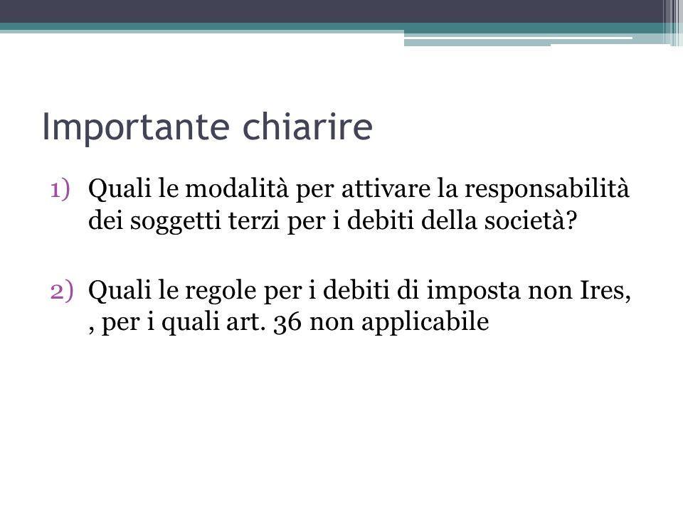 Importante chiarire 1)Quali le modalità per attivare la responsabilità dei soggetti terzi per i debiti della società.