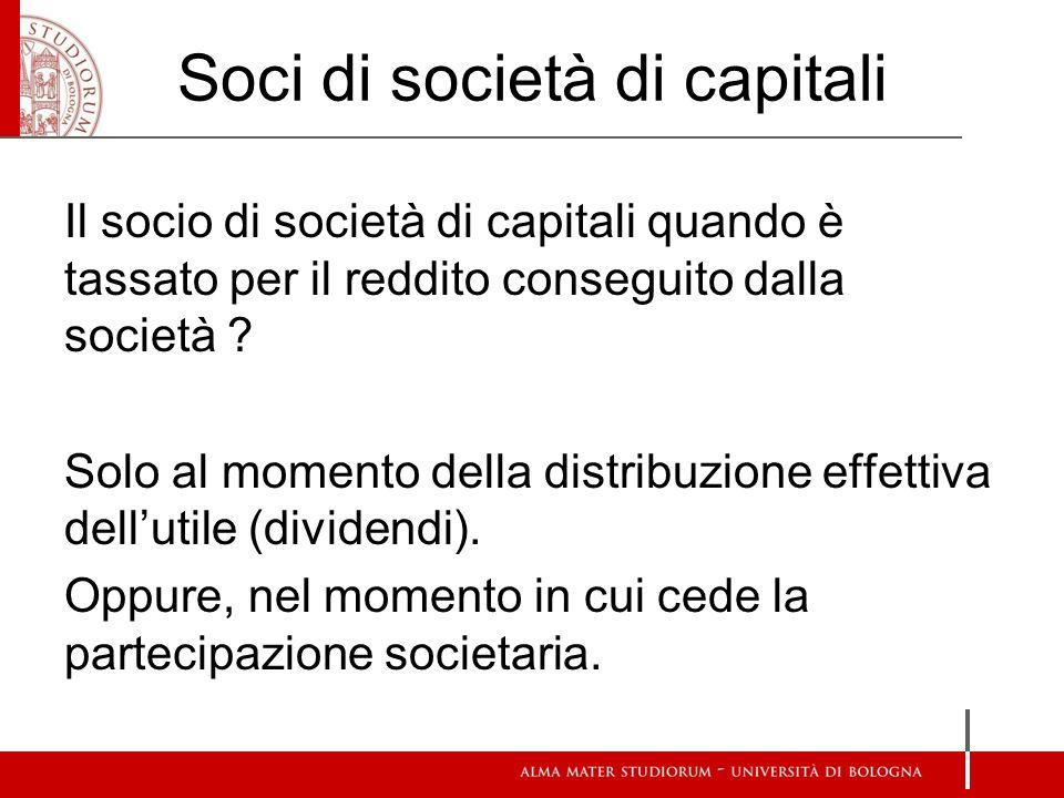 Soci di società di capitali Il socio di società di capitali quando è tassato per il reddito conseguito dalla società .
