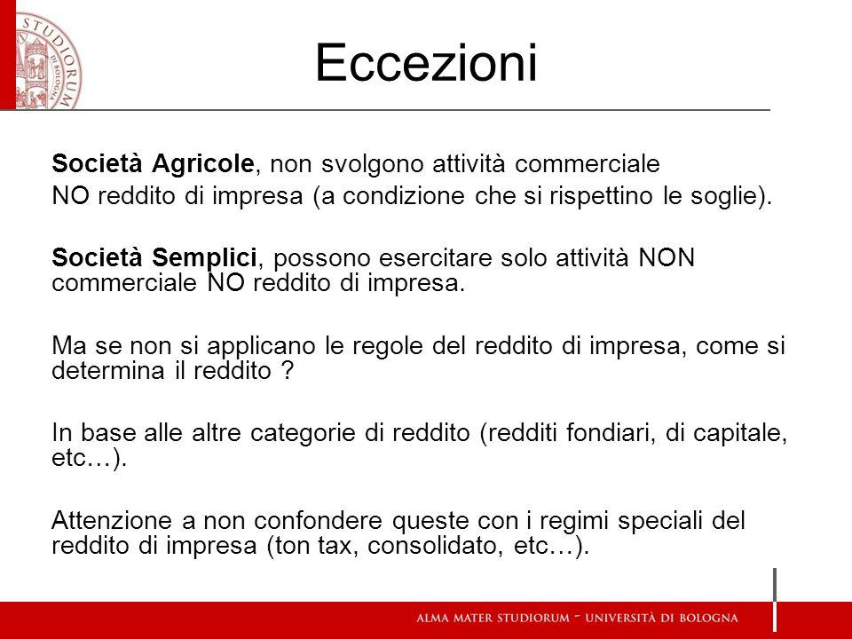 Eccezioni Società Agricole, non svolgono attività commerciale NO reddito di impresa (a condizione che si rispettino le soglie).