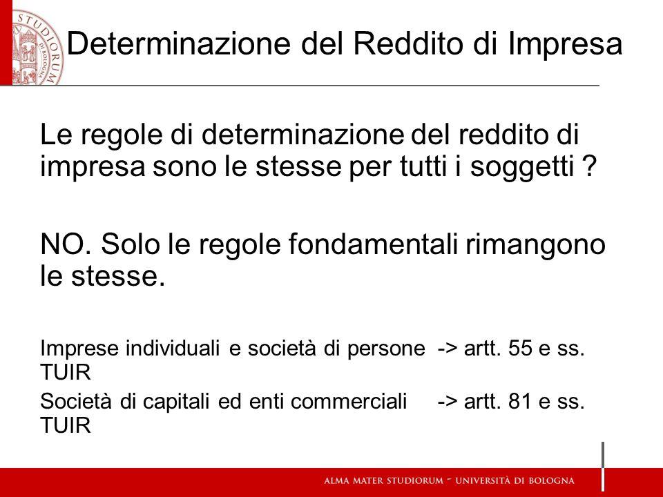 Determinazione del Reddito di Impresa Le regole di determinazione del reddito di impresa sono le stesse per tutti i soggetti .