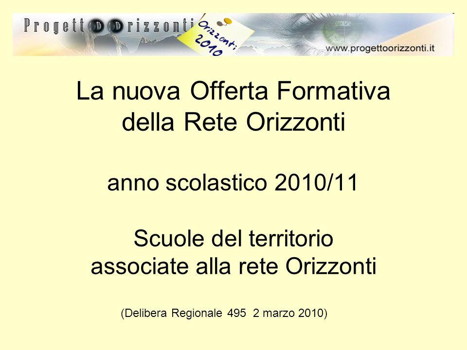 La nuova Offerta Formativa della Rete Orizzonti anno scolastico 2010/11 Scuole del territorio associate alla rete Orizzonti (Delibera Regionale 495 2 marzo 2010)