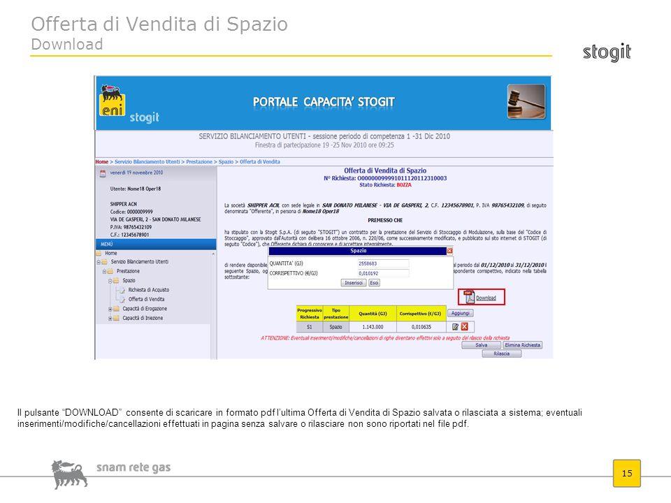 Offerta di Vendita di Spazio Download 15 Il pulsante DOWNLOAD consente di scaricare in formato pdf lultima Offerta di Vendita di Spazio salvata o rila