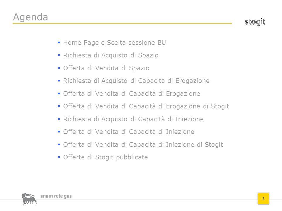 2 Agenda Home Page e Scelta sessione BU Richiesta di Acquisto di Spazio Offerta di Vendita di Spazio Richiesta di Acquisto di Capacità di Erogazione O
