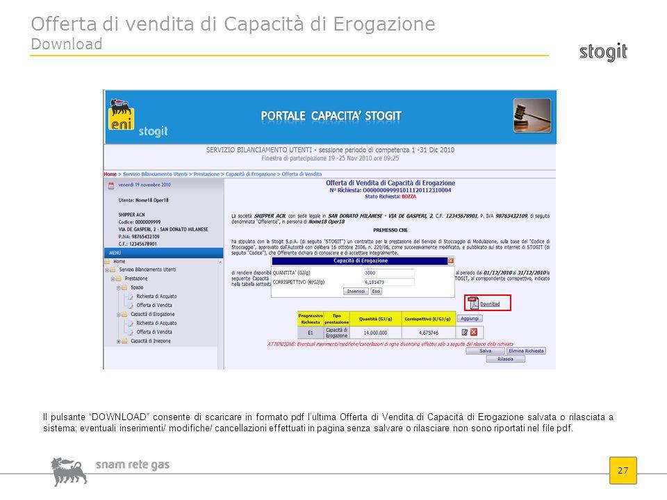 Offerta di vendita di Capacità di Erogazione Download 27 Il pulsante DOWNLOAD consente di scaricare in formato pdf lultima Offerta di Vendita di Capac
