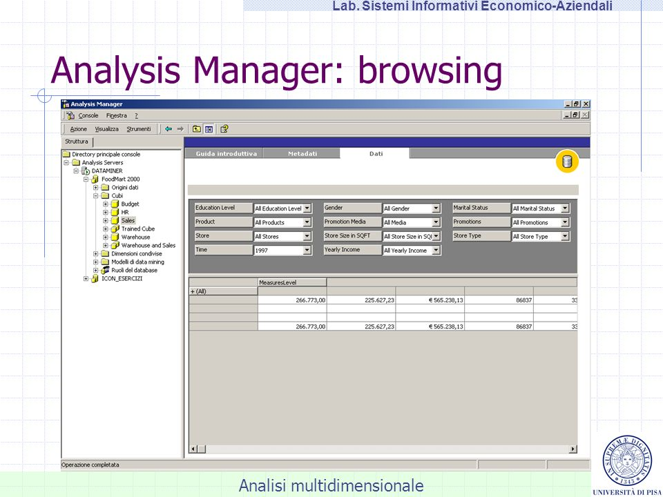 Analisi multidimensionale Lab. Sistemi Informativi Economico-Aziendali Analysis Manager: browsing