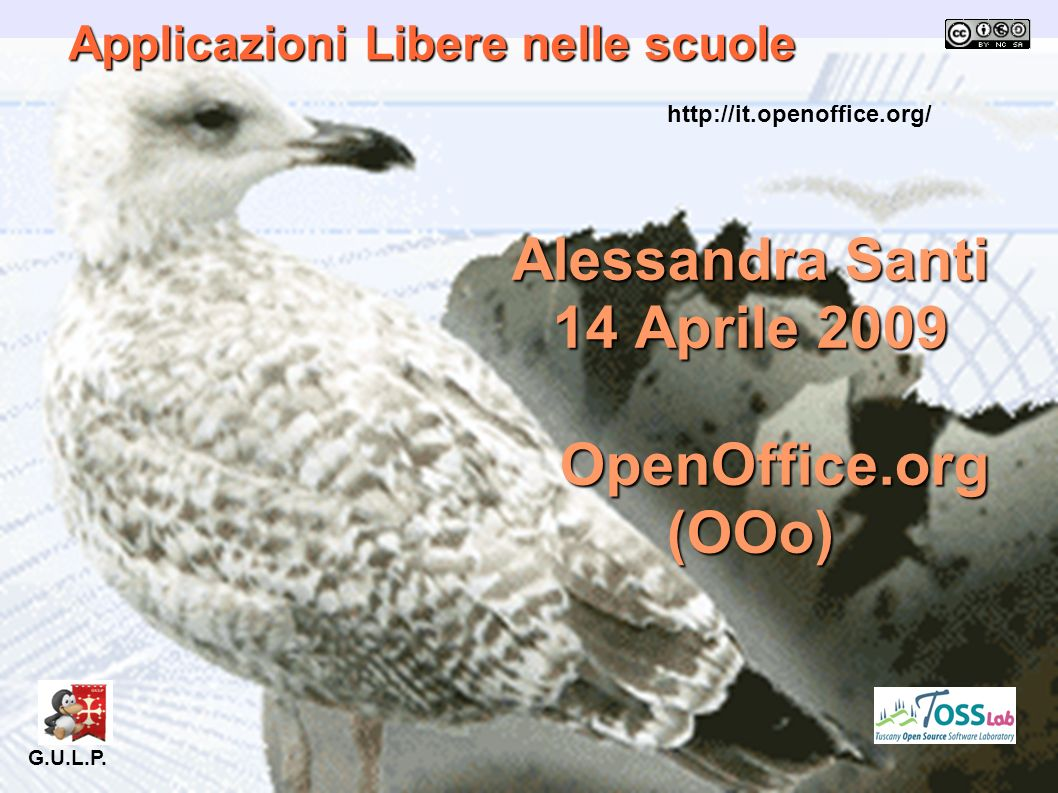 Applicazioni Libere nelle scuole Alessandra Santi 14 Aprile 2009 OpenOffice.org (OOo) OpenOffice.org (OOo) G.U.L.P. http://it.openoffice.org/