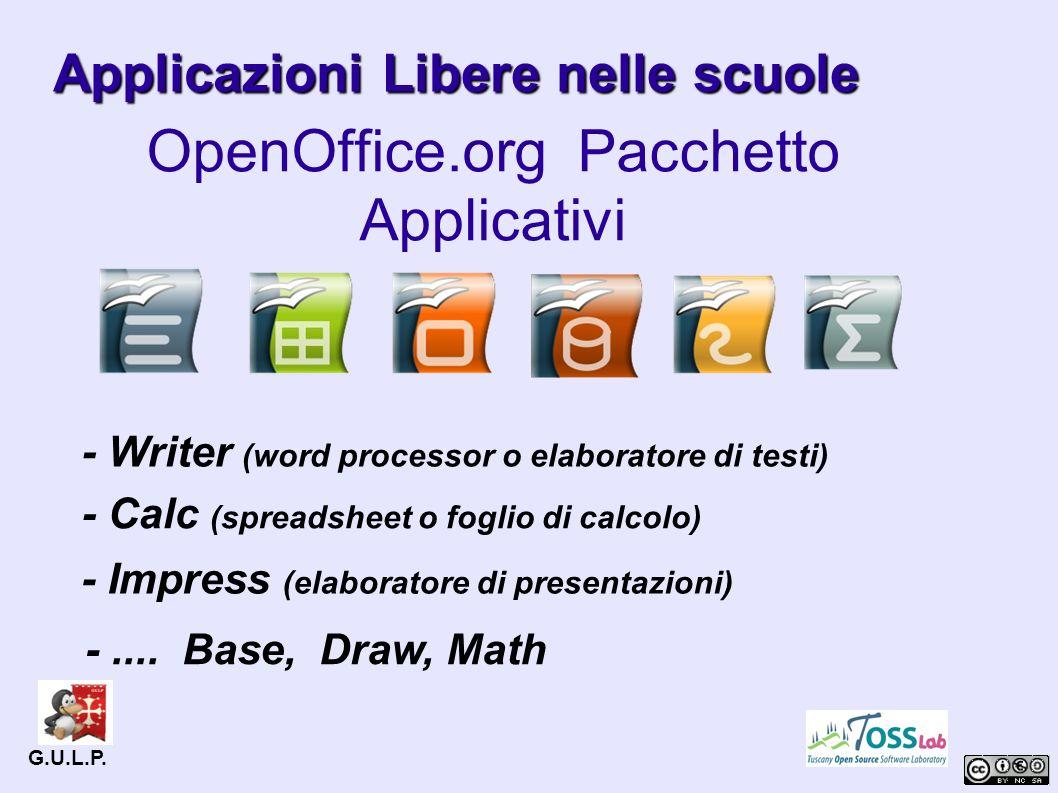 Applicazioni Libere nelle scuole OpenOffice.org Pacchetto Applicativi G.U.L.P.