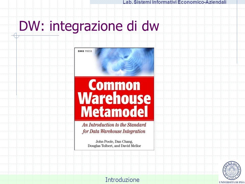 Introduzione Lab. Sistemi Informativi Economico-Aziendali DW: integrazione di dw