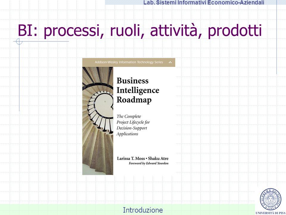 Introduzione Lab. Sistemi Informativi Economico-Aziendali BI: processi, ruoli, attività, prodotti
