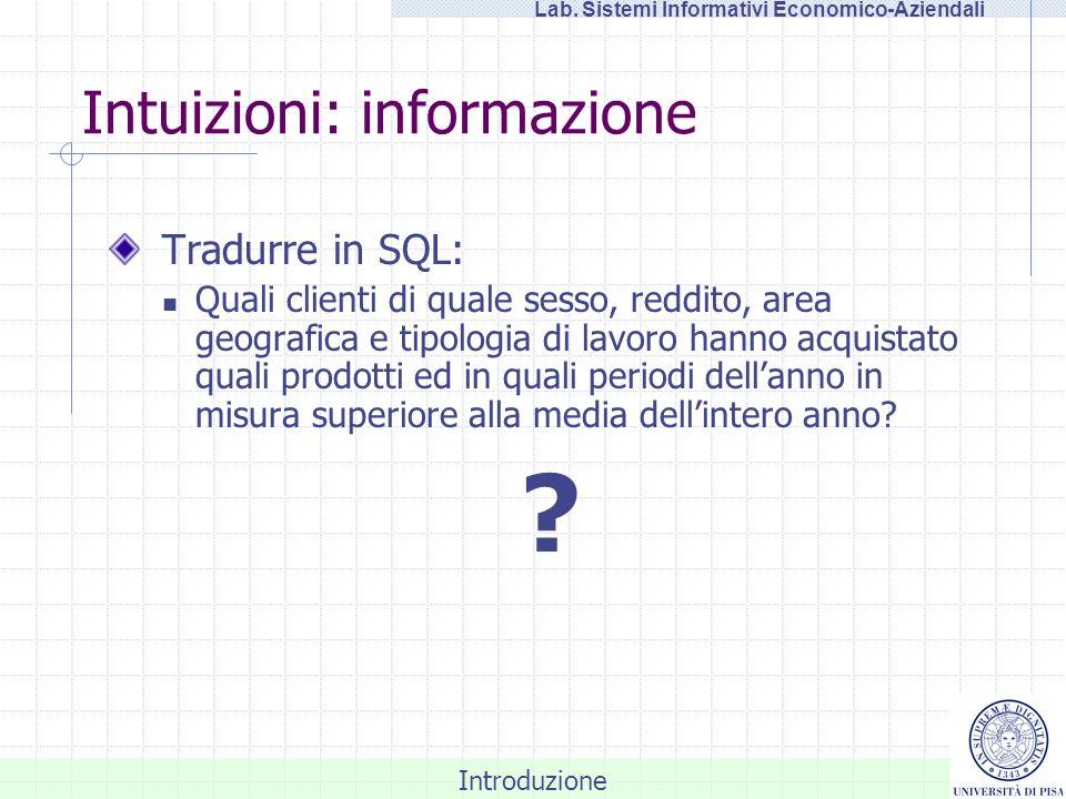 Introduzione Lab. Sistemi Informativi Economico-Aziendali Intuizioni: informazione Tradurre in SQL: Quali clienti di quale sesso, reddito, area geogra