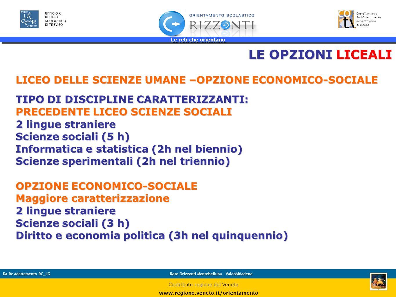 Le reti che orientano 19 UFFICIO XI UFFICIO SCOLASTICO DI TREVISO Coordinamento Reti Orientamento della Provincia di Treviso Da Re adattamento RC_LGRe