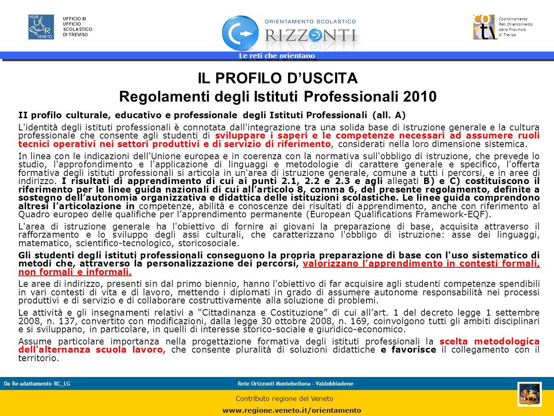 Le reti che orientano 37 UFFICIO XI UFFICIO SCOLASTICO DI TREVISO Coordinamento Reti Orientamento della Provincia di Treviso Da Re adattamento RC_LGRe