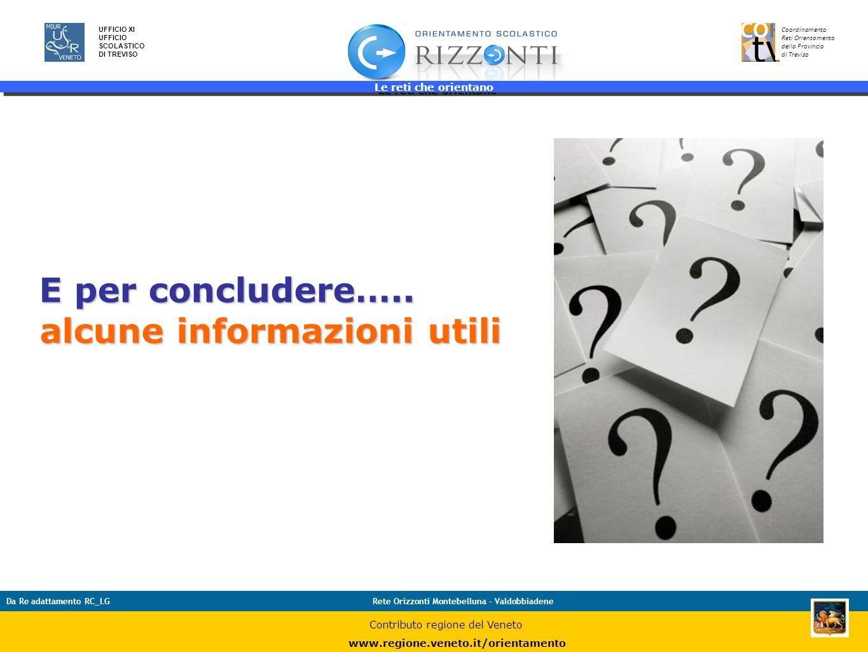 Le reti che orientano 41 UFFICIO XI UFFICIO SCOLASTICO DI TREVISO Coordinamento Reti Orientamento della Provincia di Treviso Da Re adattamento RC_LGRe