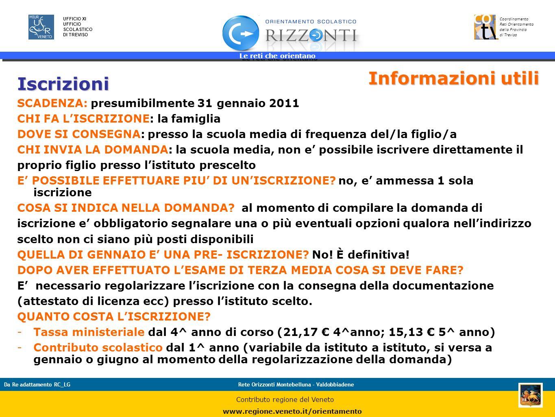 Le reti che orientano 42 UFFICIO XI UFFICIO SCOLASTICO DI TREVISO Coordinamento Reti Orientamento della Provincia di Treviso Da Re adattamento RC_LGRe