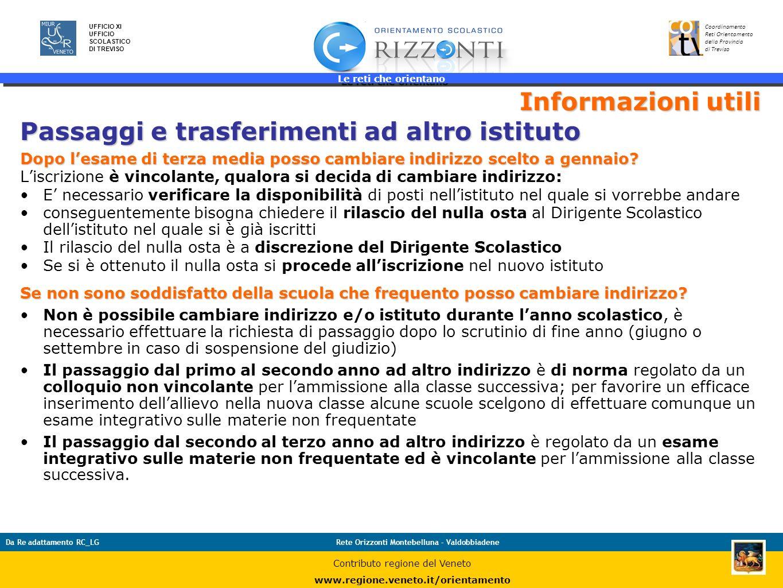 Le reti che orientano 43 UFFICIO XI UFFICIO SCOLASTICO DI TREVISO Coordinamento Reti Orientamento della Provincia di Treviso Da Re adattamento RC_LGRe