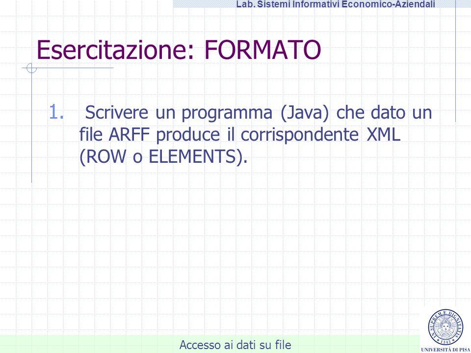 Accesso ai dati su file Lab.Sistemi Informativi Economico-Aziendali Esercitazione: FORMATO 1.