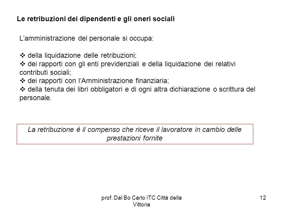 prof. Dal Bo Carlo ITC Città della Vittoria 12 Le retribuzioni dei dipendenti e gli oneri sociali La retribuzione è il compenso che riceve il lavorato