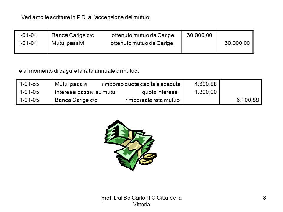 prof. Dal Bo Carlo ITC Città della Vittoria 8 Vediamo le scritture in P.D. allaccensione del mutuo: 1-01-04 Banca Carige c/c ottenuto mutuo da Carige