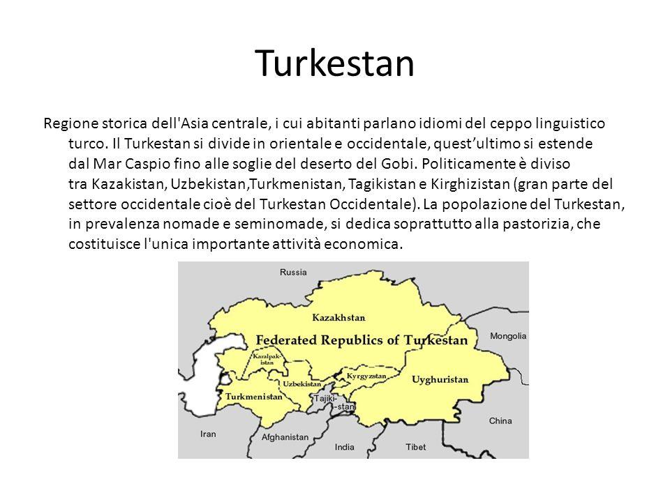 Turkestan Regione storica dell'Asia centrale, i cui abitanti parlano idiomi del ceppo linguistico turco. Il Turkestan si divide in orientale e occiden