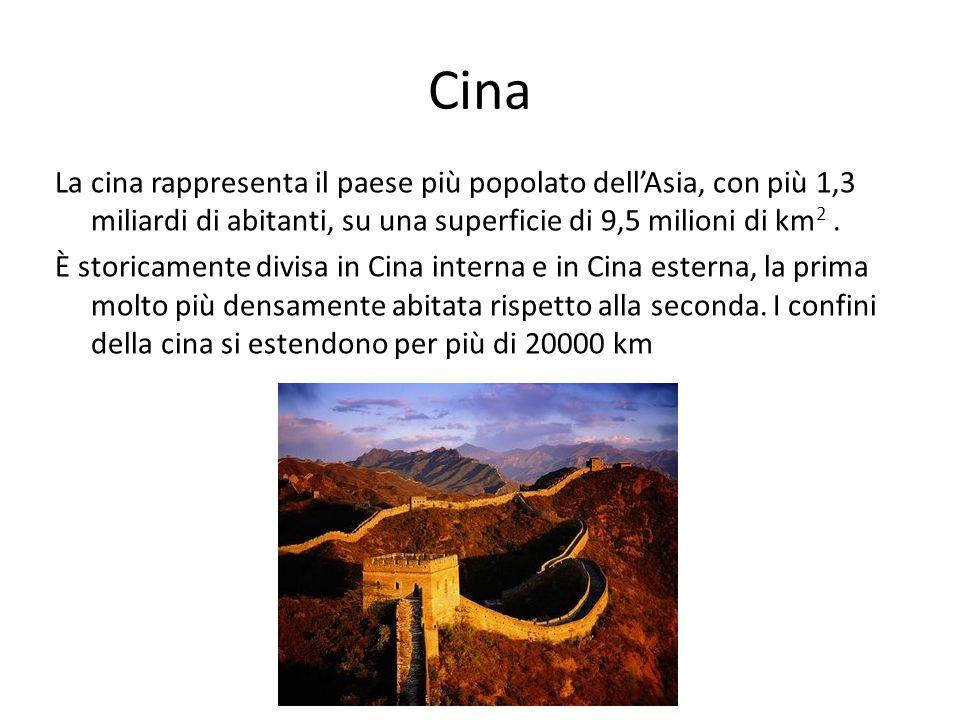 Cina La cina rappresenta il paese più popolato dellAsia, con più 1,3 miliardi di abitanti, su una superficie di 9,5 milioni di km 2. È storicamente di