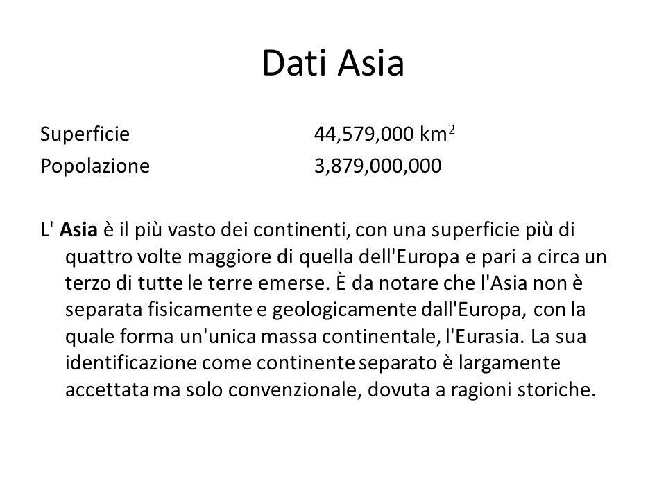 Dati Asia Superficie 44,579,000 km 2 Popolazione 3,879,000,000 L' Asia è il più vasto dei continenti, con una superficie più di quattro volte maggiore