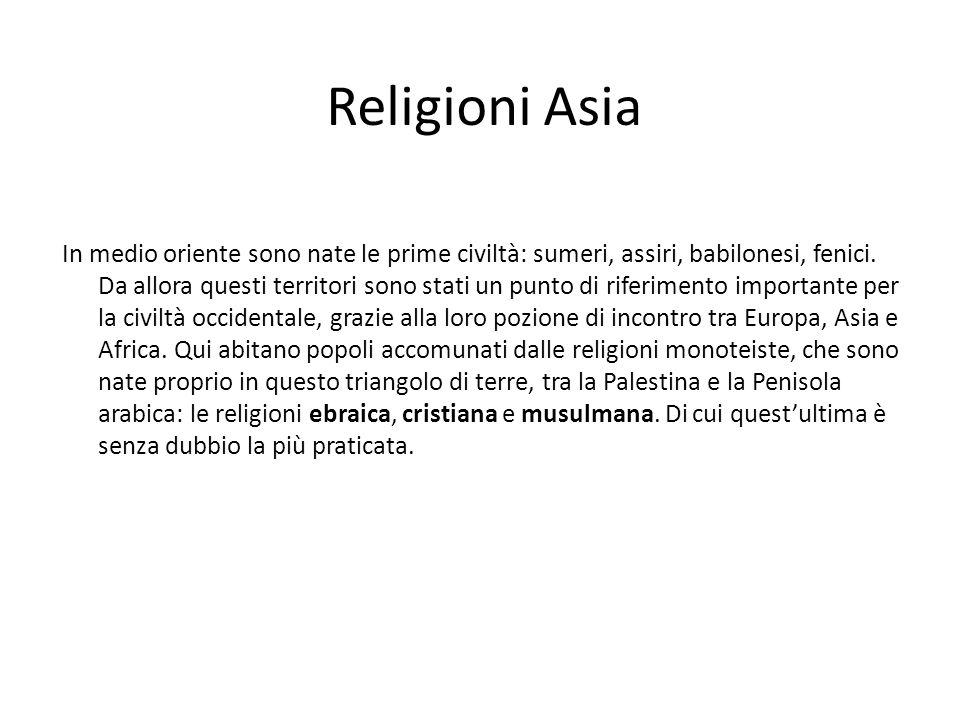 Religioni Asia In medio oriente sono nate le prime civiltà: sumeri, assiri, babilonesi, fenici. Da allora questi territori sono stati un punto di rife