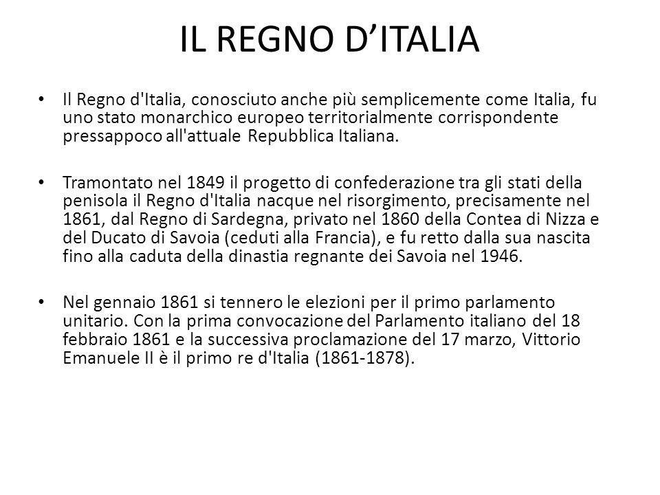 Il Regno d'Italia, conosciuto anche più semplicemente come Italia, fu uno stato monarchico europeo territorialmente corrispondente pressappoco all'att