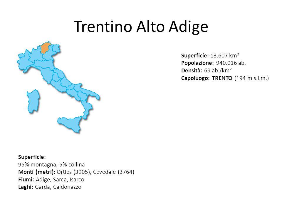 Trentino Alto Adige Superficie: 13.607 km² Popolazione: 940.016 ab. Densità: 69 ab./km² Capoluogo: TRENTO (194 m s.l.m.) Superficie: 95% montagna, 5%