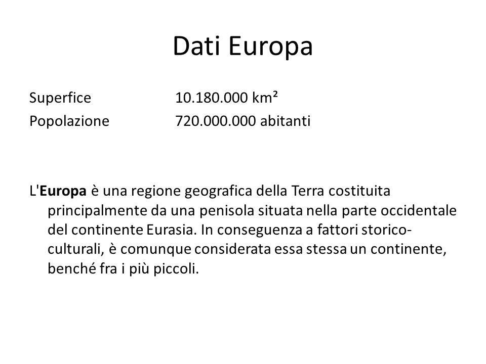 Dati Europa Superfice 10.180.000 km² Popolazione 720.000.000 abitanti L'Europa è una regione geografica della Terra costituita principalmente da una p
