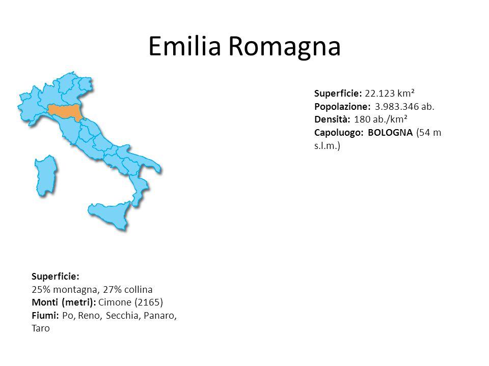 Emilia Romagna Superficie: 22.123 km² Popolazione: 3.983.346 ab. Densità: 180 ab./km² Capoluogo: BOLOGNA (54 m s.l.m.) Superficie: 25% montagna, 27% c