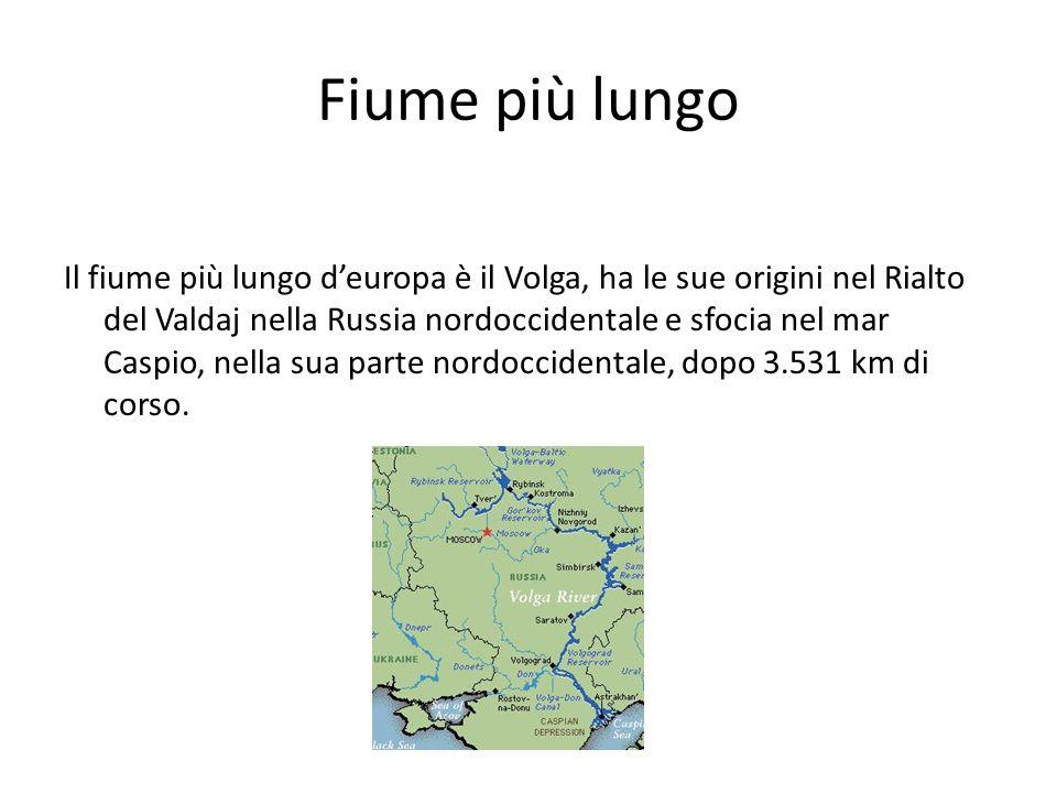 Fiume più lungo Il fiume più lungo deuropa è il Volga, ha le sue origini nel Rialto del Valdaj nella Russia nordoccidentale e sfocia nel mar Caspio, n