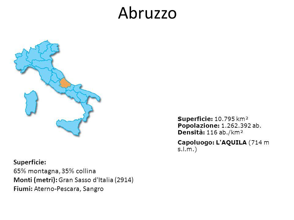 Abruzzo Superficie: 65% montagna, 35% collina Monti (metri): Gran Sasso d'Italia (2914) Fiumi: Aterno-Pescara, Sangro Superficie: 10.795 km² Popolazio