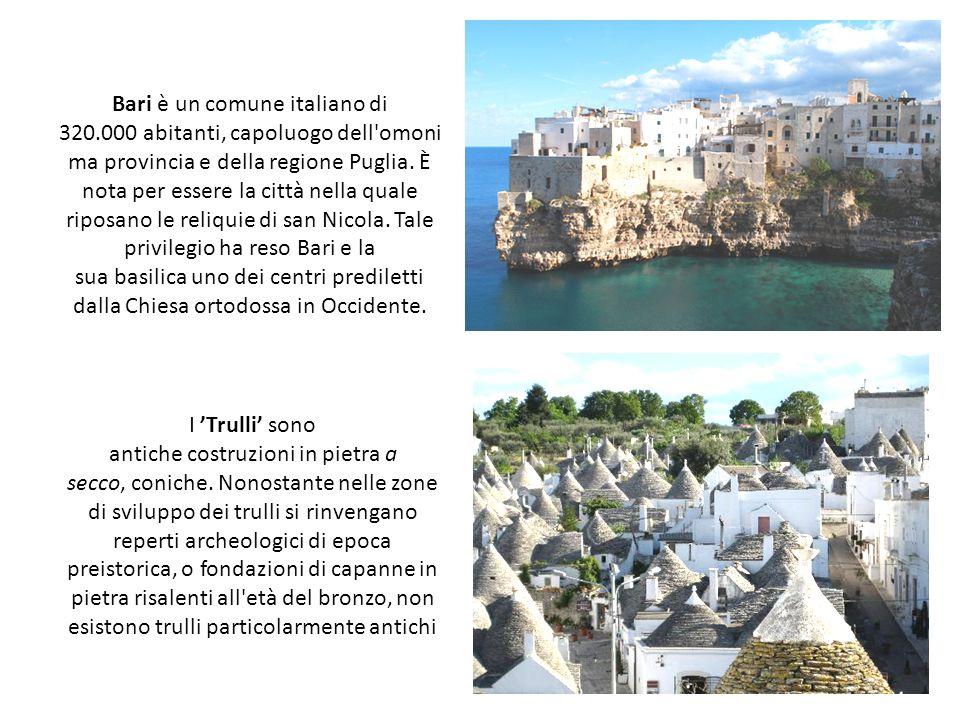 Bari è un comune italiano di 320.000 abitanti, capoluogo dell'omoni ma provincia e della regione Puglia. È nota per essere la città nella quale riposa
